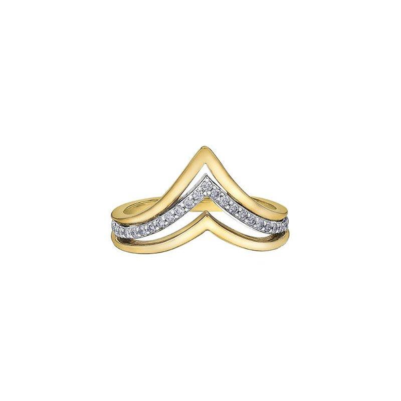 Diamond Days Triple V-Shaped Ring