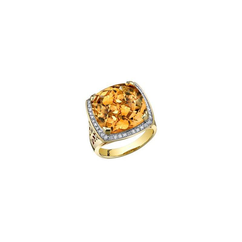 Diamond Days Yellow Gold Citrine Ring
