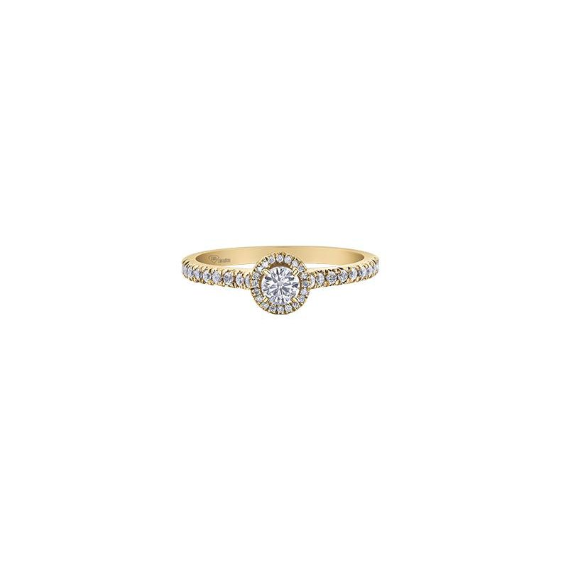 Maple Leaf Diamonds Yellow Gold Diamond Halo Ring