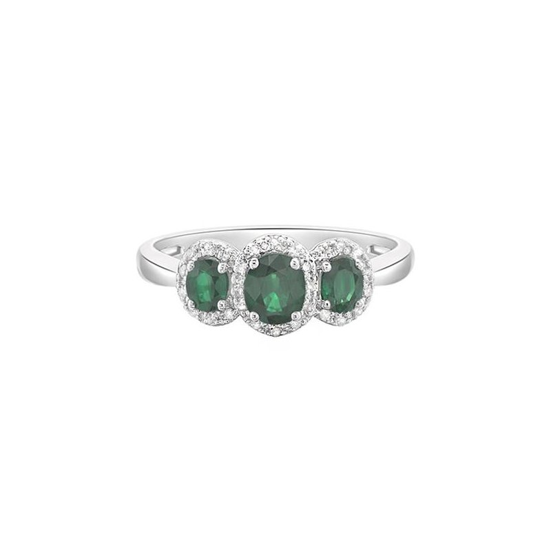 Richardson Signature Emerald and Diamond Halo Ring