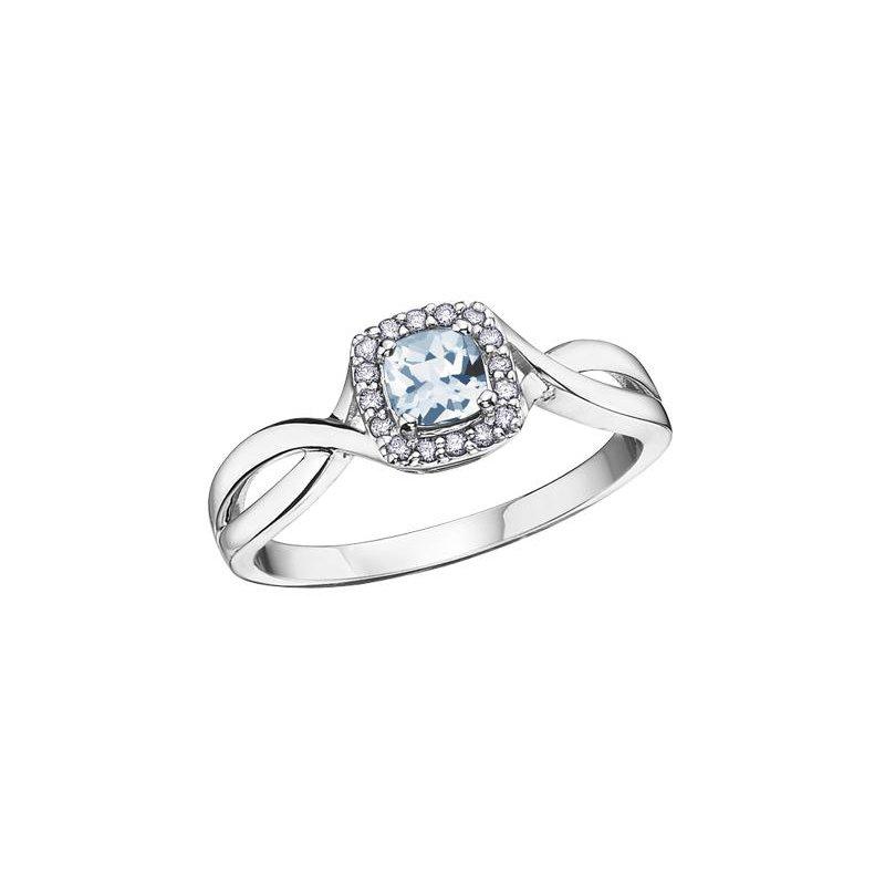 Diamond Days Aquamarine & Diamond Ring