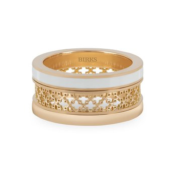BIRKS DARE TO DREAM  White Enamel Yellow Gold Stacked Ring