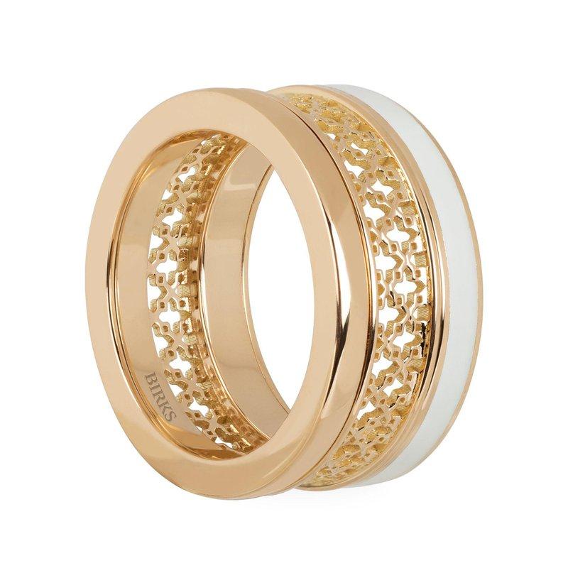 Bijoux Birks BIRKS DARE TO DREAM  White Enamel Yellow Gold Stacked Ring