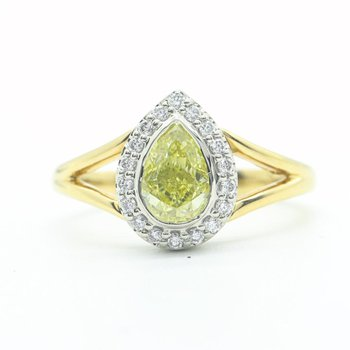 Fancy Yellow Pear-Shaped Diamond Ring