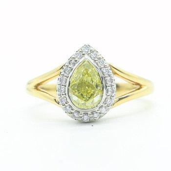 Fancy Yellow Pear-Shaped Diamond Ring