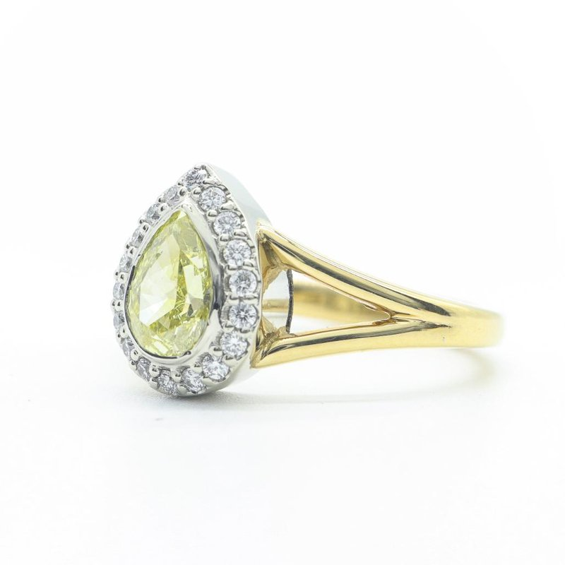 Richardson Signature Fancy Yellow Pear-Shaped Diamond Ring
