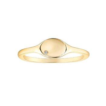 Yellow Gold Signet Ring With Mini Diamond