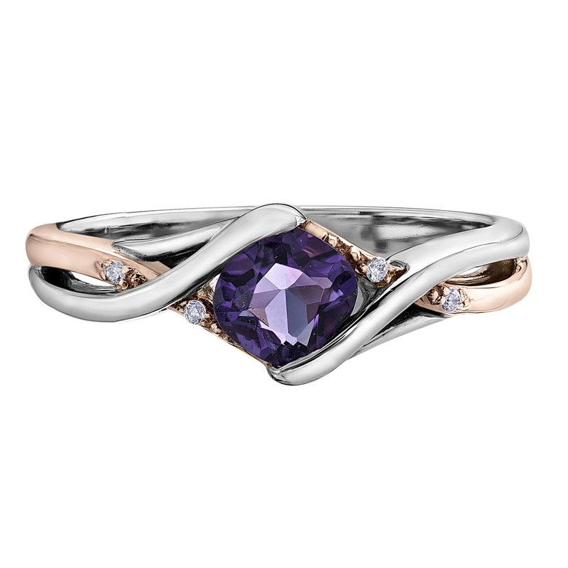Diamond Days Two-Toned Amethyst Ring