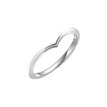'V' Shape White Gold Ring