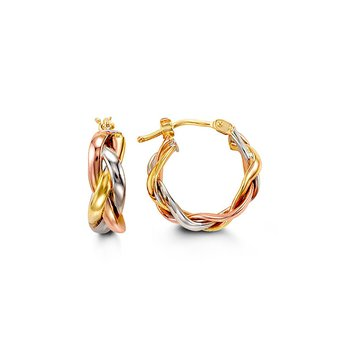 Tri- Gold Braided Hoop