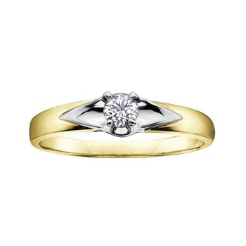 Two- Toned Diamond Solitaire Ring