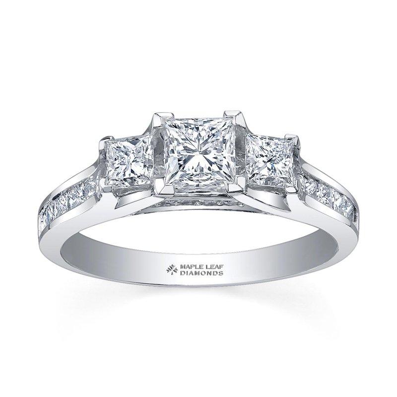 Maple Leaf Diamonds Princess Cut Engagement RIng