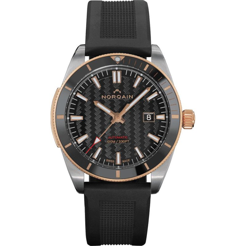 NORQAIN Adventure Sport  Auto Steel & Gold Black Ceramic Bezel Black Dial Black Rubber Strap