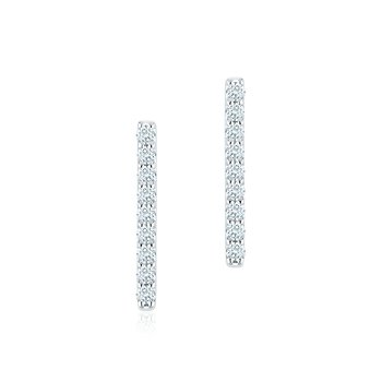 ROSÉE DU MATIN- Diamond Bar Earrings