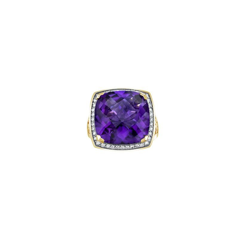 Diamond Days Yellow Gold Amethyst Ring
