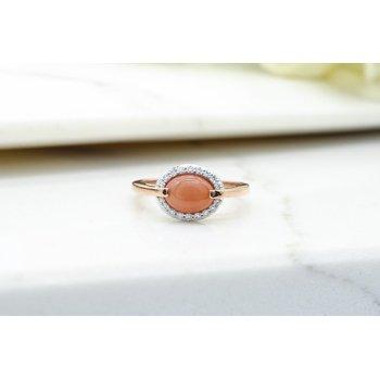 Orange Moonstone & Diamond Ring