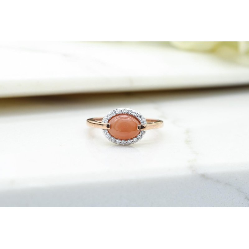Diamond Days Orange Moonstone & Diamond Ring