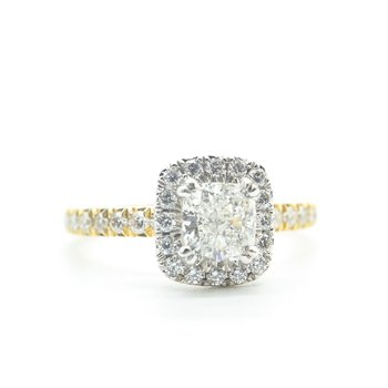 Two-Tone Cushion-Cut Diamond Ring