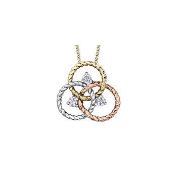 Tri-Gold Diamond Circle Pendant