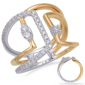 Two-Tone Wide Diamond Dinner Ring