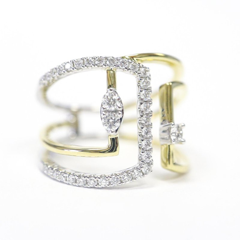 S.KASHI Two-Tone Wide Diamond Dinner Ring