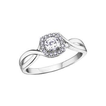 White Zircon & Diamond Ring