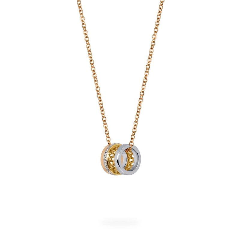 Bijoux Birks BIRKS DARE TO DREAM Tri-Gold Diamond Pendant Necklace