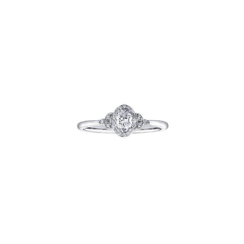 Maple Leaf Diamonds Oval Halo Engagement Ring