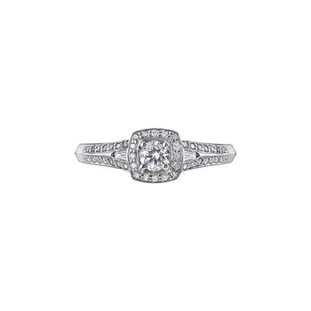 White Gold Halo Diamond Ring