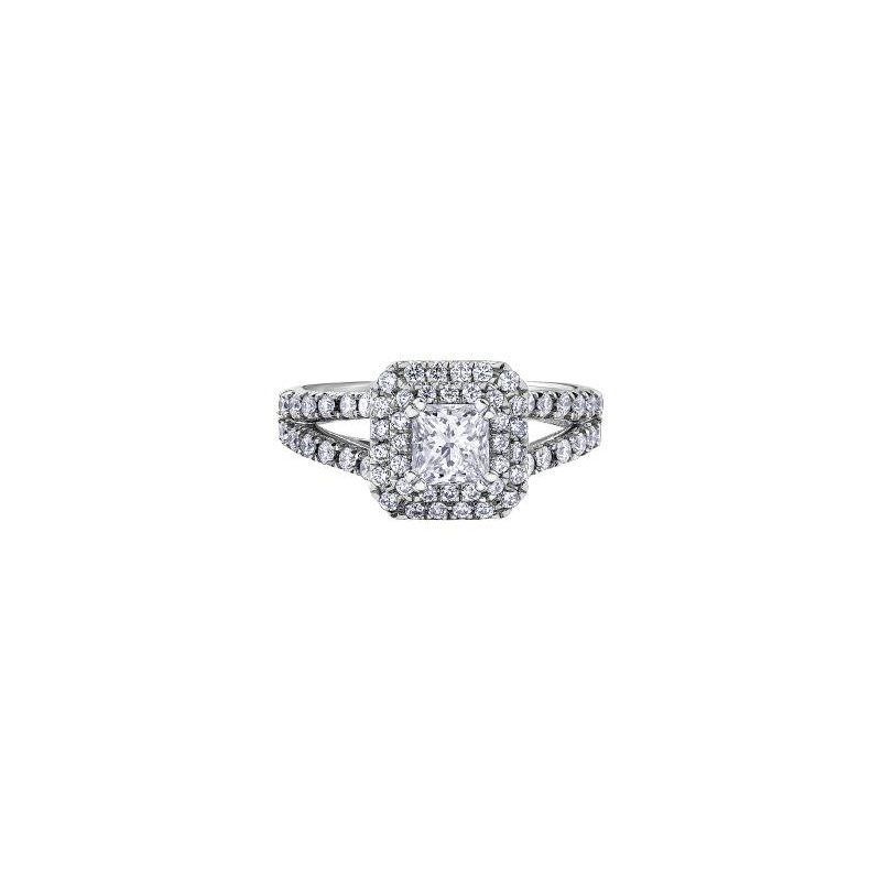 Maple Leaf Diamonds Princess-Cut Halo Engagement Ring
