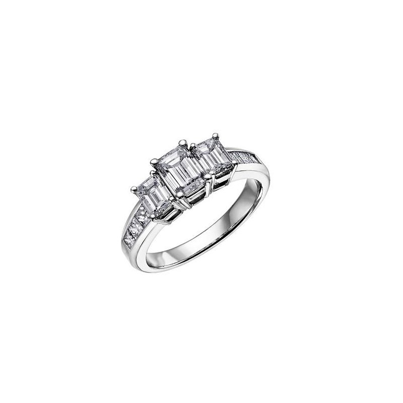 Richardson Signature Three Stone Emerald Cut Diamond Ring