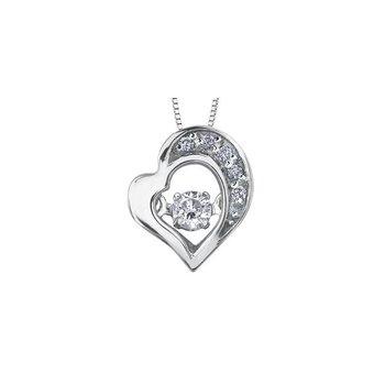 White Gold Pulse Heart Pendant