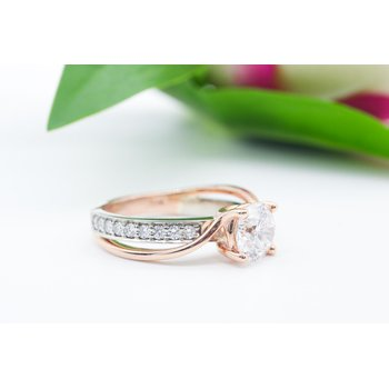 White & Rose Gold Twist Diamond Ring
