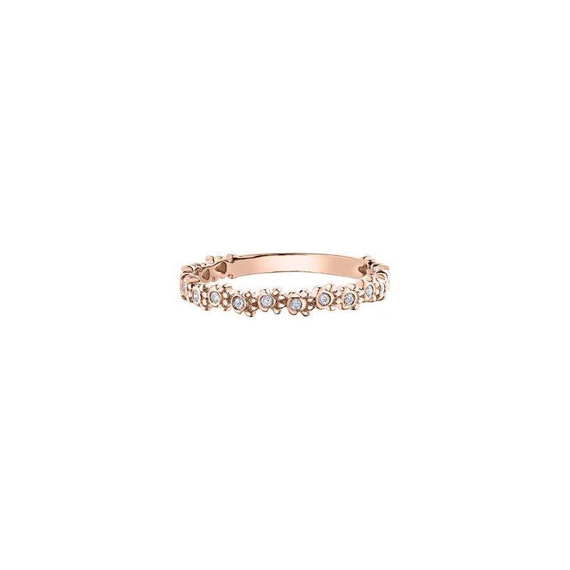 Diamond Days Rose Gold Paw Print Stacking Ring