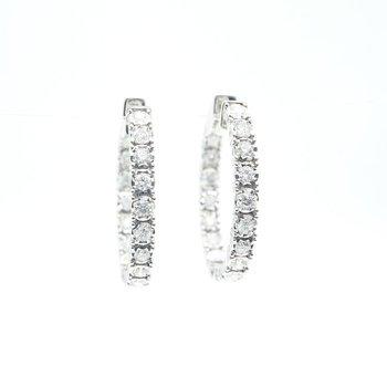 White Gold Inside-Outside Diamond Hoop Earrings