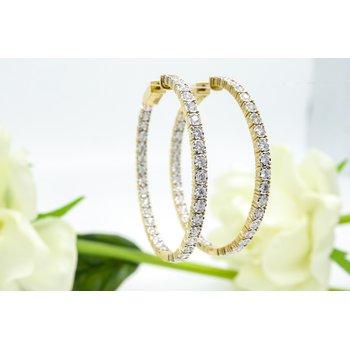 Yellow Gold Large Inside-Outside Diamond Hoops