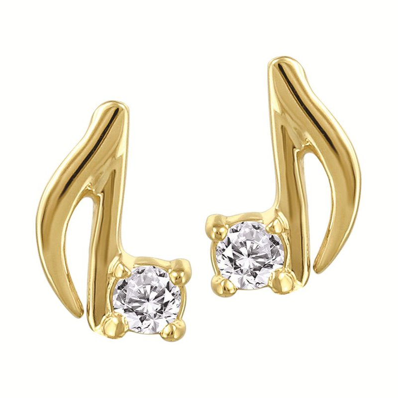Fire and Ice Music Note Diamond Studs