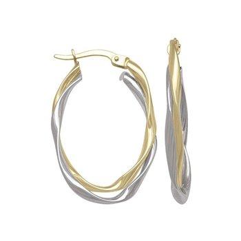 10k Two-Tone Fancy Oval Hoops