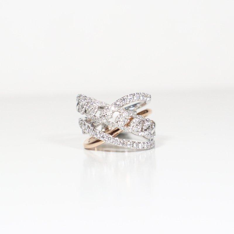 S.KASHI White & Rose Gold Diamond Ring