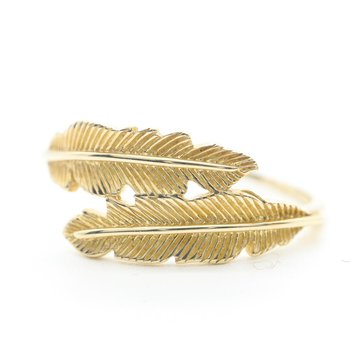 Yellow Gold Feather Ring