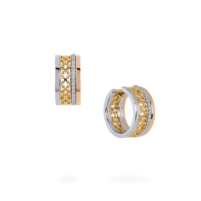 BIRKS DARE TO DREAM- Diamond Tri- Gold  Huggie Earrings