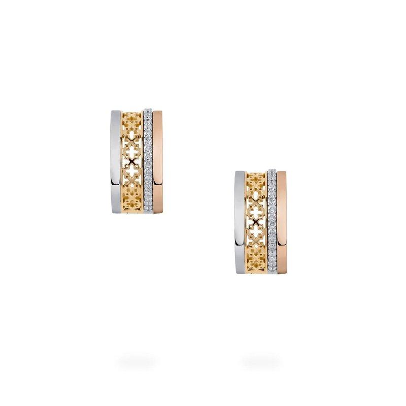 Bijoux Birks BIRKS DARE TO DREAM Diamond Tri- Gold  Huggie Earrings