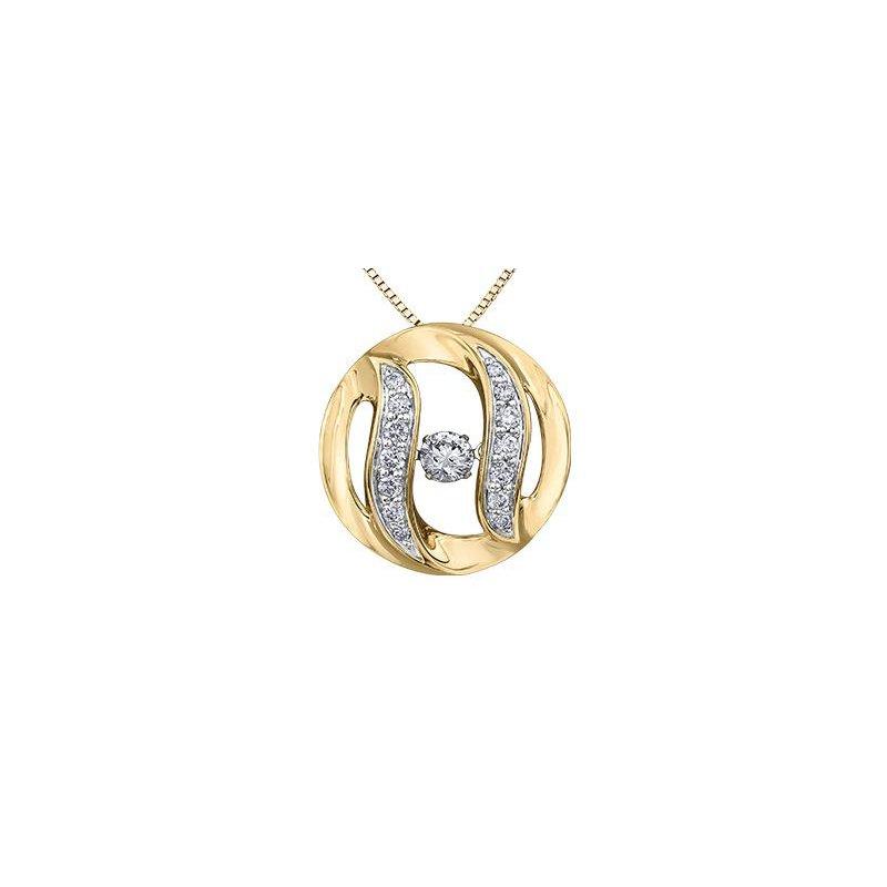 Diamond Days Yellow Gold Pulse Diamond Pendant