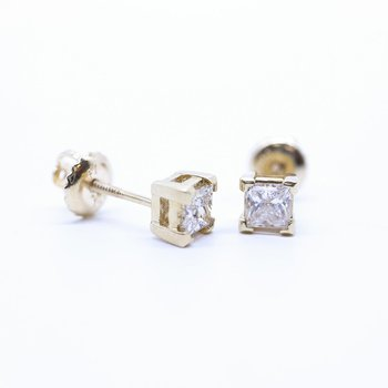 0.20CTW Yellow Gold Princess-Cut Diamond Earrings