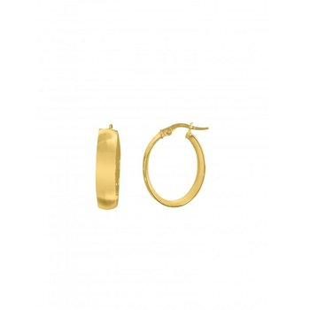 14K Yellow Gold Oval Hoop