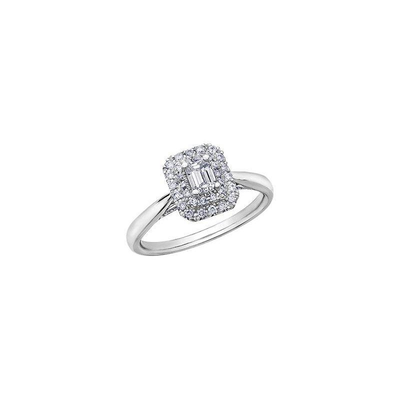 Diamond Days Emerald-Cut Halo Engagement Ring