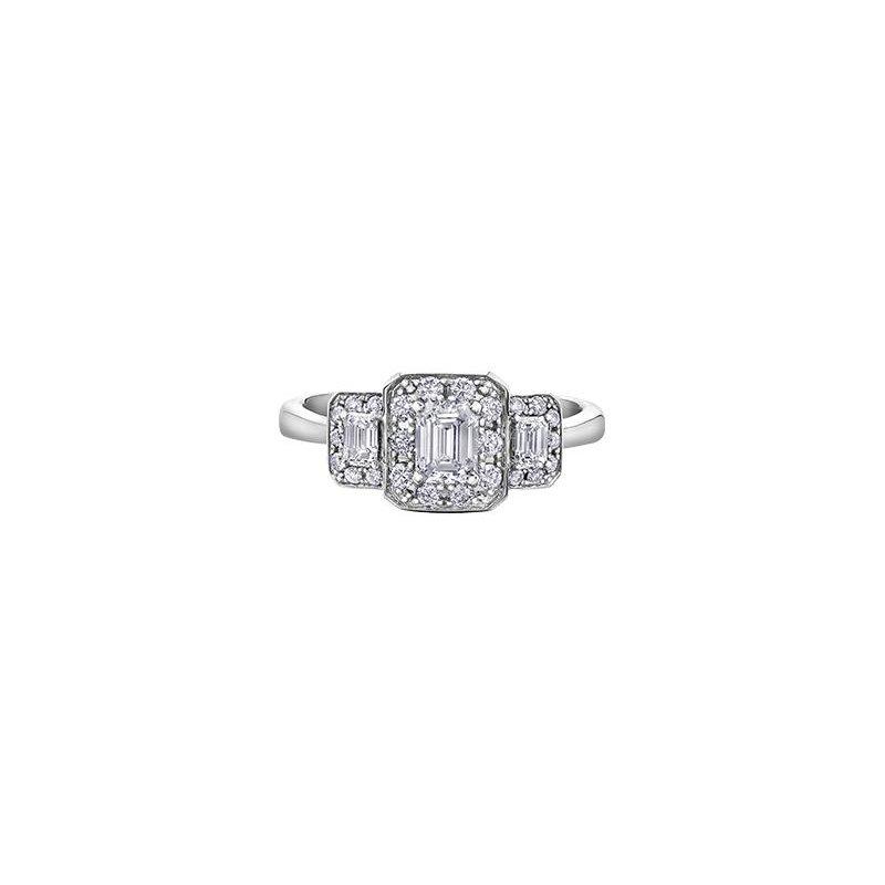 Diamond Days Emerald Cut Halo Ring