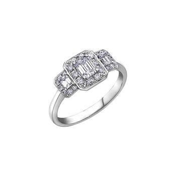 Emerald Cut Halo Ring