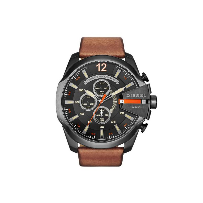 Diesel Mega Chief Brown Leather Strap Watch