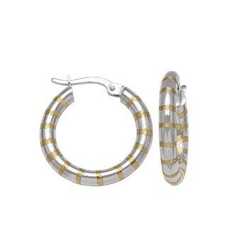 10K Two-Tone Fancy Pattern Hoops